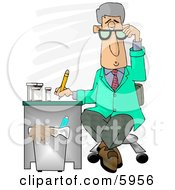 Medical Doctor Taking Notes While Sitting At A Desk In A Hospital Clipart Picture by djart
