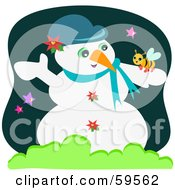 Royalty Free RF Clipart Illustration Of A Cute Bee Resting On A Snowman by bpearth