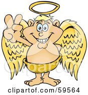 Royalty Free RF Clipart Illustration Of A Peaceful Blond Angel Gesturing The Peace Sign