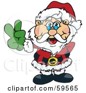 Royalty Free RF Clipart Illustration Of A Peaceful Santa Claus Gesturing The Peace Sign by Dennis Holmes Designs