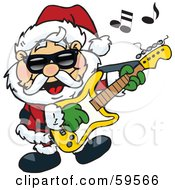 Royalty Free RF Clipart Illustration Of Santa Claus Wearing Shades Rocking Out And Playing A Guitar by Dennis Holmes Designs