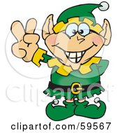 Royalty Free RF Clipart Illustration Of A Peaceful Male Christmas Elf Gesturing The Peace Sign
