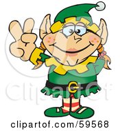 Royalty Free RF Clipart Illustration Of A Peaceful Female Christmas Elf Gesturing The Peace Sign