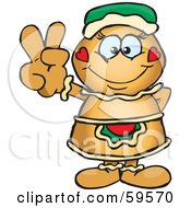 Royalty Free RF Clipart Illustration Of A Peaceful Gingerbread Woman Gesturing The Peace Sign
