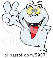 Royalty Free RF Clipart Illustration Of A Deceiving Ghost Gesturing The Peace Sign by Dennis Holmes Designs