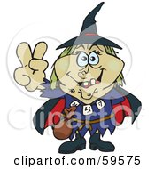 Royalty Free RF Clipart Illustration Of A Wicked Witch Gesturing The Peace Sign