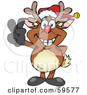 Royalty Free RF Clipart Illustration Of A Peaceful Rudolph The Red Nosed Reindeer Gesturing The Peace Sign