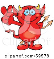 Royalty Free RF Clipart Illustration Of A Peaceful Red Devil Gesturing The Peace Sign by Dennis Holmes Designs