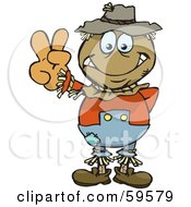 Royalty Free RF Clipart Illustration Of A Peaceful Scarecrow Gesturing The Peace Sign by Dennis Holmes Designs