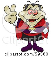 Royalty Free RF Clipart Illustration Of A Peaceful Female Vampiress Gesturing The Peace Sign