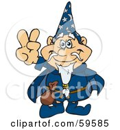 Royalty Free RF Clipart Illustration Of A Peaceful Wizard Gesturing The Peace Sign by Dennis Holmes Designs