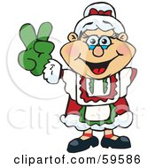 Royalty Free RF Clipart Illustration Of A Peaceful Mrs Claus Gesturing The Peace Sign by Dennis Holmes Designs