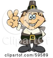 Royalty Free RF Clipart Illustration Of A Male Pilgrim Giving A Peace Hand Gesture