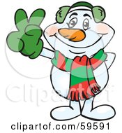 Royalty Free RF Clipart Illustration Of A Peaceful Winter Snowman Gesturing The Peace Sign