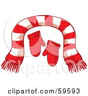 Royalty Free RF Clipart Illustration Of A Pair Of Red Mittens And A Striped Scarf by Rosie Piter