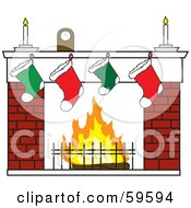 Royalty Free RF Clipart Illustration Of A Clock And Candles Over Christmas Stockings On A Brick Fireplace by Rosie Piter