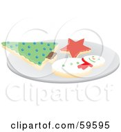 Royalty Free RF Clipart Illustration Of A Plate Of Christmas Tree Star And Snowman Cookies