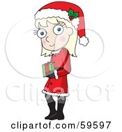 Royalty Free RF Clipart Illustration Of A Shy Blond Christmas Girl Wearing A Santa Hat And Carrying A Gift by Rosie Piter