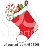 Royalty Free RF Clipart Illustration Of A Red Christmas Stocking Full Of Stuffers by Rosie Piter