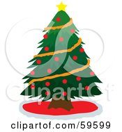 Royalty Free RF Clipart Illustration Of A Green Christmas Tree Adorned With Orange Garland Red Baubles And A Star by Rosie Piter