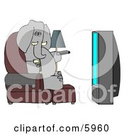 Human Like Elephant Watching TV And Drinking Beer Clipart Picture by djart