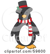 Cute Christmas Penguin Wearing A Holly Hat And Scarf