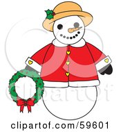Royalty Free RF Clipart Illustration Of A Chubby And Frendly Snowman In A Warm Coat And Hat Holding A Wreath by Rosie Piter