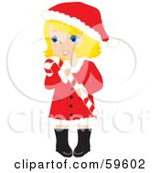 Royalty Free RF Clipart Illustration Of A Blond Christmas Girl In A Santa Suit Carrying A Candy Cane by Rosie Piter