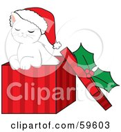 Royalty Free RF Clipart Illustration Of A Cute White Christmas Kitten Wearing A Santa Hat And Sitting In A Red Gift Box by Rosie Piter