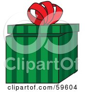 Royalty Free RF Clipart Illustration Of A Partially Opened Green Striped Gift Box With A Curly Red Bow