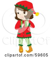 Royalty Free RF Clipart Illustration Of A Brunette Girl In A Christmas Elf Costume Carrying A Gift