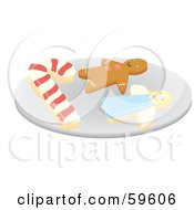 Royalty Free RF Clipart Illustration Of A Plate Of Candy Cane Gingerbread And Angel Christmas Cookies by Rosie Piter