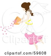 Royalty Free RF Clipart Illustration Of A Brunette Female Angel Pouring Hearts From A Bowl by Rosie Piter