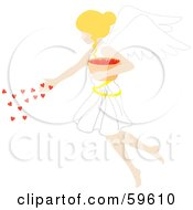 Blond Female Angel Spreading Hearts From A Bowl