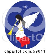 Royalty Free RF Clipart Illustration Of A Pretty Christmas Angel With A Horn Under The North Star by Rosie Piter