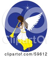 Royalty Free RF Clipart Illustration Of A Beautiful Christmas Angel With A Horn Under The North Star by Rosie Piter
