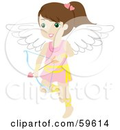 Royalty Free RF Clipart Illustration Of A Cute Brunette Female Cupid With A Bow And Arrow by Rosie Piter