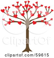 Royalty Free RF Clipart Illustration Of A Tree Growing An Abundance Of Red Hearts by Rosie Piter