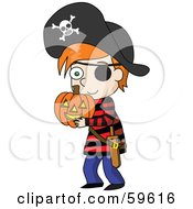 Little Red Haired Boy Dressed A Pirate And Carrying A Halloween Pumpkin
