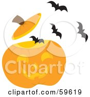 Royalty Free RF Clipart Illustration Of A Swarm Of Bats Flying Out Of A Carved Halloween Pumpkin by Rosie Piter