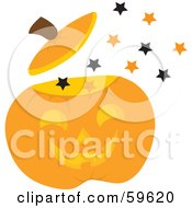 Royalty Free RF Clipart Illustration Of Magical Stars Floating Out Of A Halloween Pumpkin by Rosie Piter