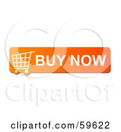 Royalty Free RF Clipart Illustration Of An Orange Buy Now Shopping Cart Button Icon On White by oboy