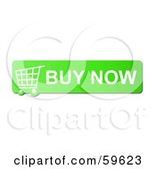 Royalty Free RF Clipart Illustration Of A Green Buy Now Shopping Cart Button Icon On White by oboy