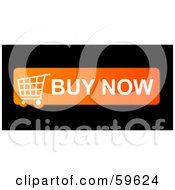 Royalty Free RF Clipart Illustration Of An Orange Buy Now Shopping Cart Button Icon On Black by oboy