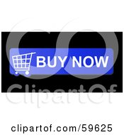 Royalty Free RF Clipart Illustration Of A Blue Buy Now Shopping Cart Button Icon On Black by oboy