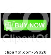 Royalty Free RF Clipart Illustration Of A Green Buy Now Shopping Cart Button Icon On Black by oboy