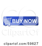Royalty Free RF Clipart Illustration Of A Blue Buy Now Shopping Cart Button Icon On White by oboy