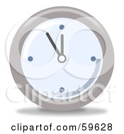 Royalty Free RF Clipart Illustration Of A Round Chrome And Blue Wall Clock Version 5