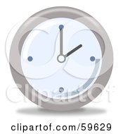Royalty Free RF Clipart Illustration Of A Round Chrome And Blue Wall Clock Version 2