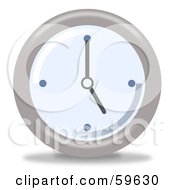 Royalty Free RF Clipart Illustration Of A Round Chrome And Blue Wall Clock Version 6 by oboy